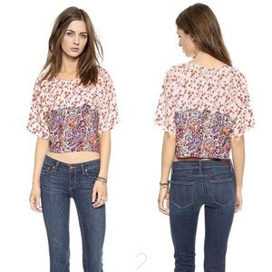 House of Harlow 1960   Ava Crop Top Floral Fig M